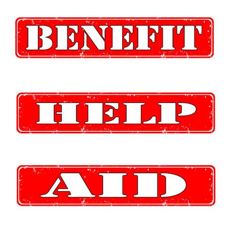 Rubber stamps benefit,help, aid, vector illustration Illustration