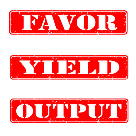 yield: Set of stamps favor, yield, output, vector illustration
