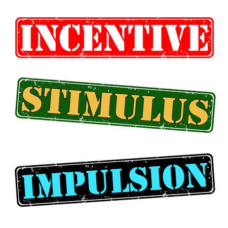 Incentive, stimulus, impulsion stamps Illustration