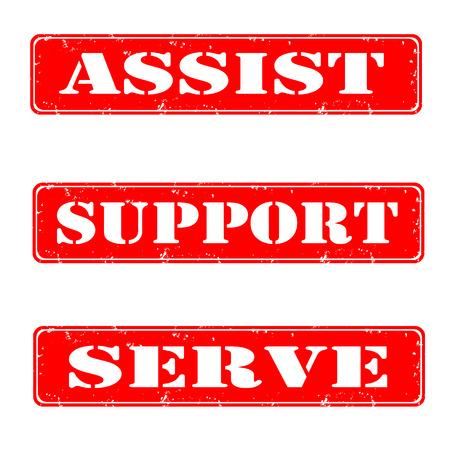Set of rubber stamps assist, support, serve, vector illustration