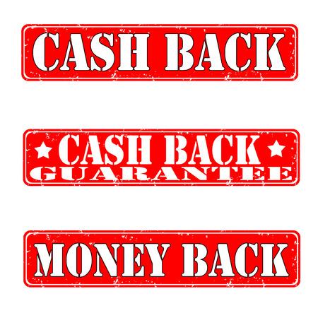 cash back: Set of grunge stamps cash back, vector illustration