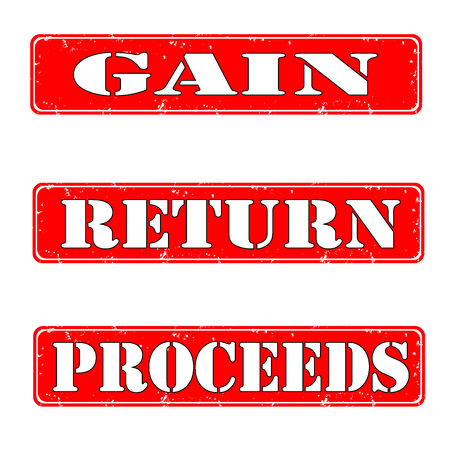 Gain, return, proceeds grunge stamps, vector illustration