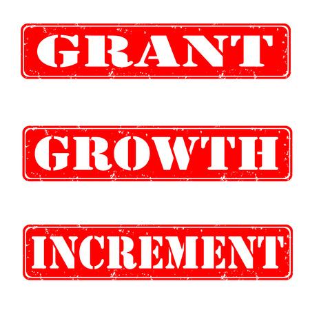 Grant, growth, increment grunge stamps, vector illustration Illustration