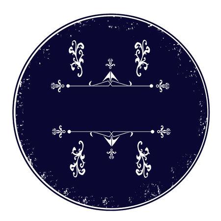 Blue empty calligraphic, grunge stamp, vector illustration