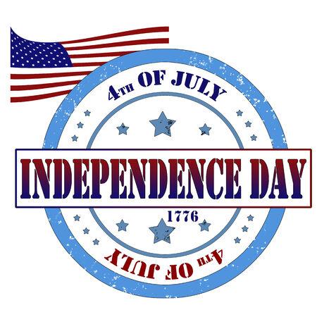 Grunge rubber stamp, labbel independence day, vetor illustration
