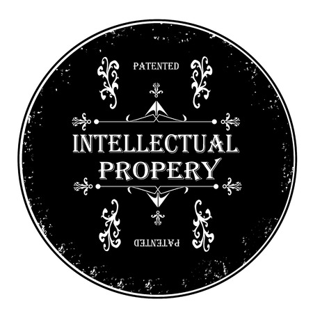 intellectual property: Black rubber stamp, intellectual property vector illustration