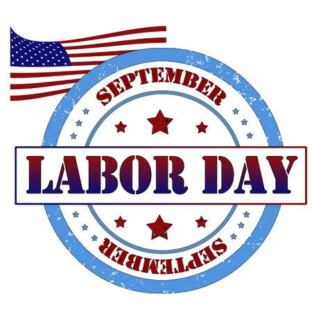 Labor day Grunge rubber stamp, label vector illustration