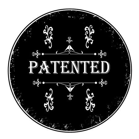 Black ruber patented stamp on white, vector illustration Illustration