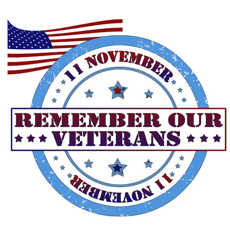 Remember our veterans stamp, vector illustration Illustration