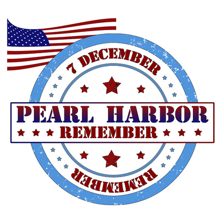 Remember Pearl Harbor stamp, label vector illustration