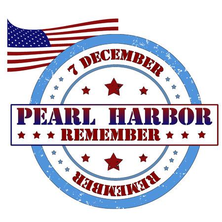 harbour: Ricordate Pearl Harbor timbro, illustrazione vettoriale etichetta