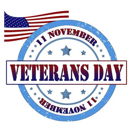 Grunge rubber stamp, label veterans day, vector illustration