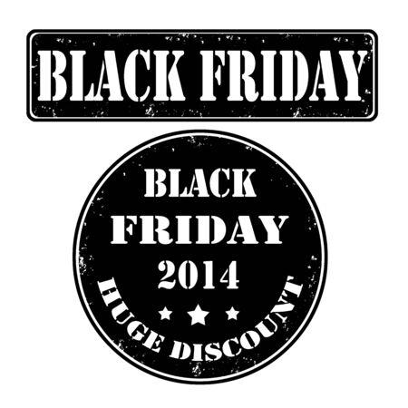 Black friday grunge rubber stamps, vector illustration Illustration