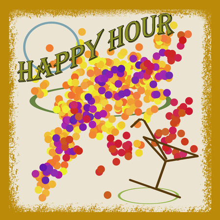 Abstract background with the text happy hour written inside, vector illustration