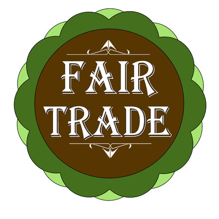 Fair trade stamp, labbel green and brown vector illustration