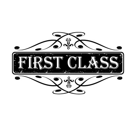 first class: First class label, stamp calligraphic