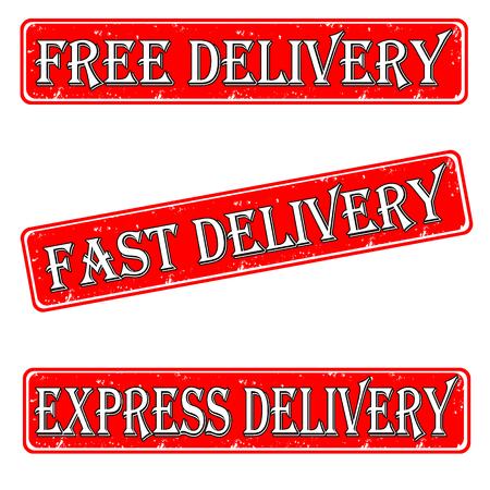 Set of stamps free, fast, express delivery  Illustration