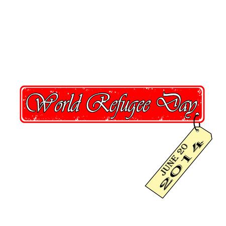 World refugee day stamp with label Illustration