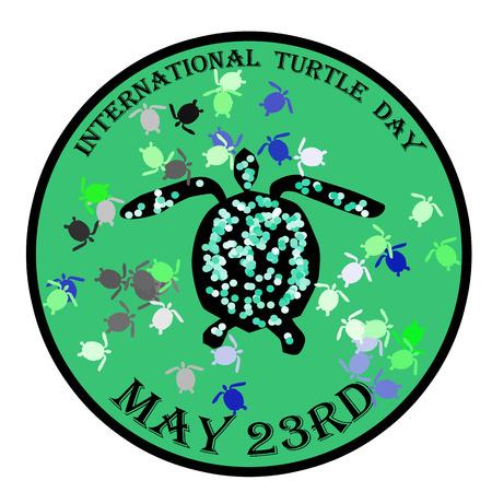 International turtle day stamp, label