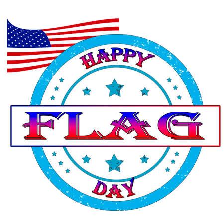 Happy flag day stamp, label illustration Illustration