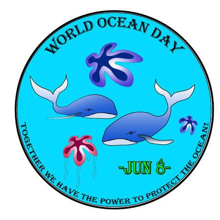 World ocean day label, stamp illustration Illustration
