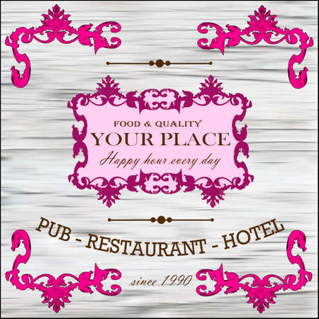 Restaurant,wine,hotel retro label vector illustration Illustration