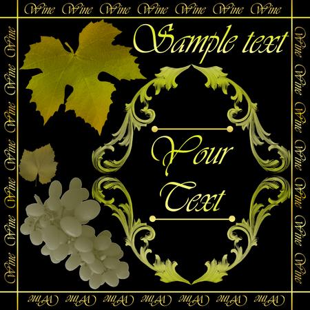 Wine,border floral calligraphic retro label vector illustration