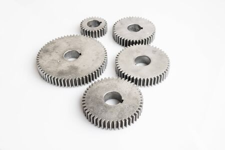 fronts: set of gears for unity meaning focus on fronts of pic on isolated background