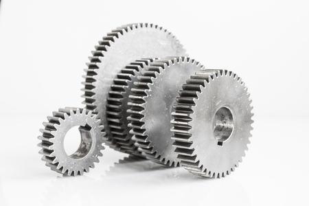 fronts: set of gears for unity meaning focus on fronts gear of pic on isolated background