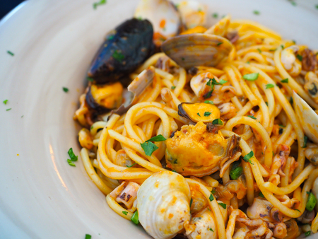 spaghetti seafood, famous food in Italy.