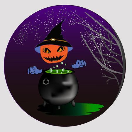 Vector clipart pumpkin and cauldron