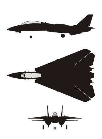 fighter pilot: Silhouette di jet da combattimento F-14
