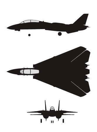 bomber plane: Silhouette of jet-fighter F-14