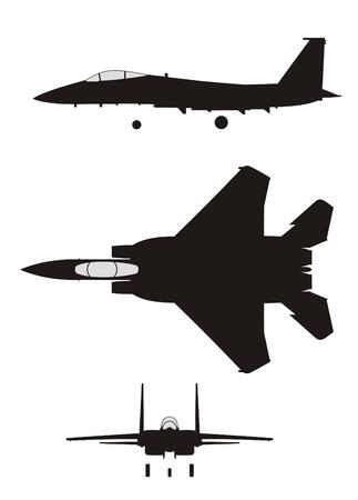 Silhouet van jet-gevechtsvliegtuig F-15 Eagle Vector Illustratie