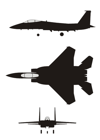 fighter pilot: Silhouette of jet-fighter F-15 Eagle Illustration