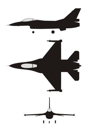 silhouet illustratie van jet-gevechts F-16