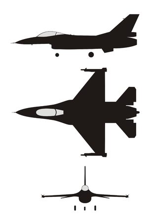 fighter pilot: silhouette illustration of jet-fighter F-16