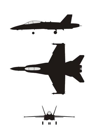 silhouet illustratie van jet-gevechtsvliegtuig F-18 Vector Illustratie