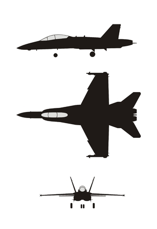 fighter pilot: silhouette illustration of jet-fighter F-18