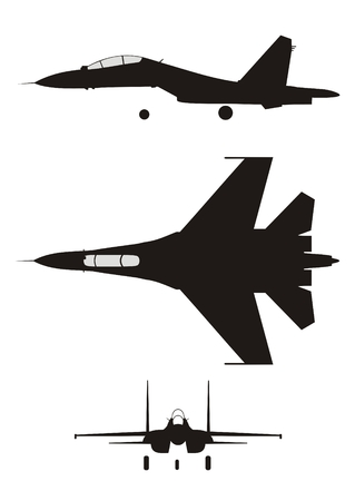fighter pilot: silhouette illustration of jet-fighter SU-30