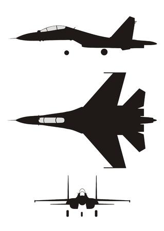 fighter pilot: Silhouette illustrazione del jet-fighter SU-30