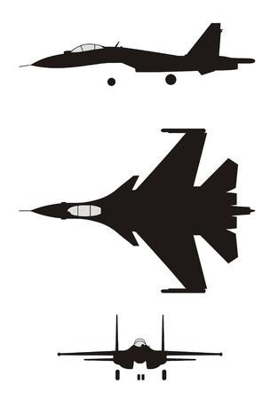 chaser: silhouette illustration of jet-fighter SU-35 Illustration