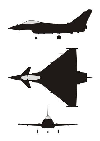 Silhouette de jet de combat-EF2000