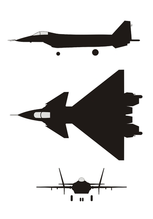mig: Silhouette of jet-fighter MIG 1.42 Illustration