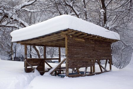 cover up: Shelter cover up with snow