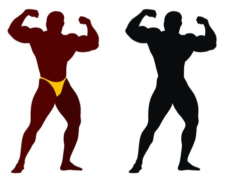 triceps: Abstract vector illustration of bodybuilder Illustration