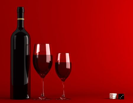 Bottle and glass of wine photo