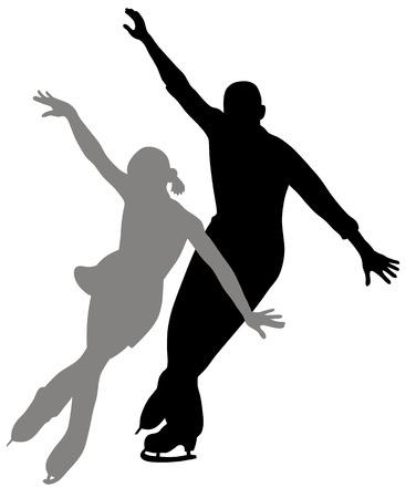 schaatsen: Abstract vector illustratie van figuur paar schaatsen Stock Illustratie