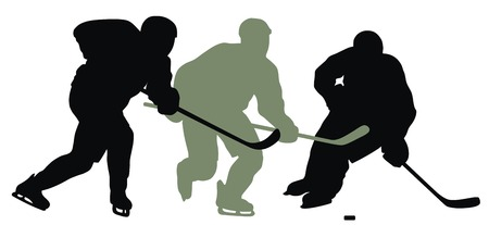 hockey player: Abstract vector illustration of hockey player silhouette