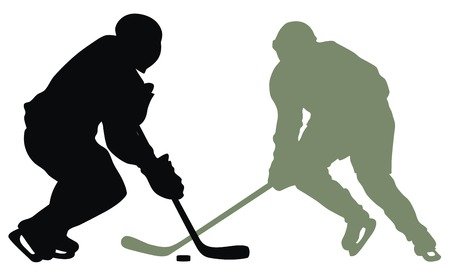 hockey skates: Abstract vector illustration of hockey player silhouette